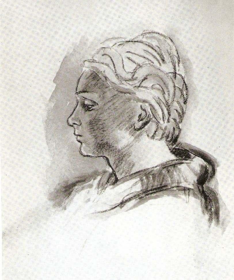 Портрет дружини Б. Ференці. Графіка. 1948 р., Szabó Katalin «ferenczy Béni» (budapest, 1976)